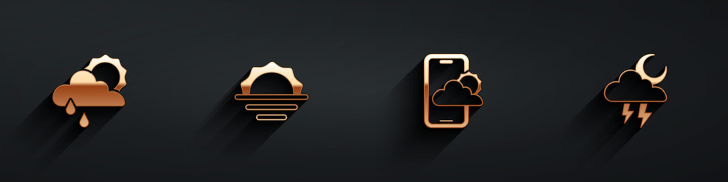 Set Cloud with rain and sun, Sunrise, Weather forecast and Storm icon with long shadow. Vector