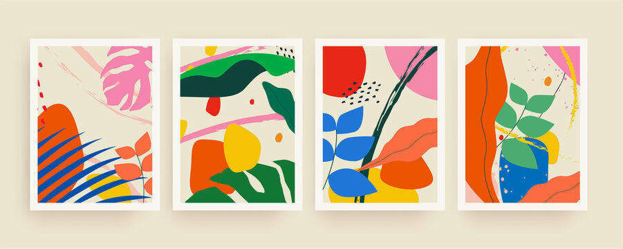 Bight colorful trendy minimalistic summer background set with abstract tropical leaves and abstract hand drawn shapes for flyer or brochure cover or banner design. Vector illustration