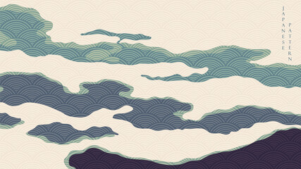 Abstract art background with Japanese wave pattern vector. Art landscape banner design in vintage style.