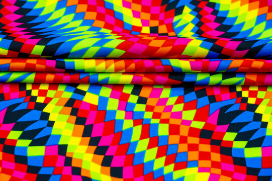 Lycra swimwear fabric. Beautiful lycra design. the colors are amazing! ... rhombs, squares in abstract order, red-yellow and azure blue