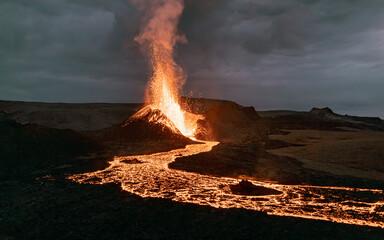 Obraz Exploding lava in the  erupting volcano in Iceland.  - fototapety do salonu