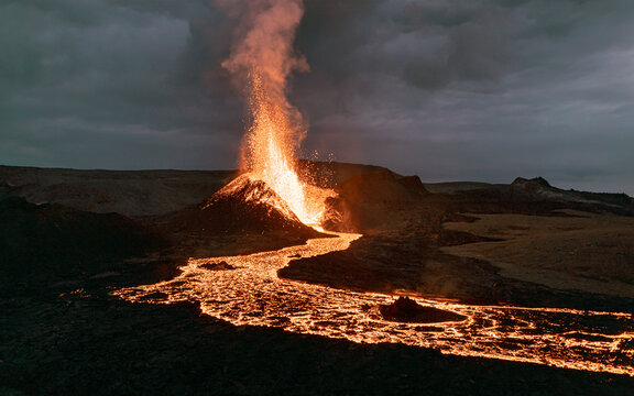 Exploding lava in the  erupting volcano in Iceland.