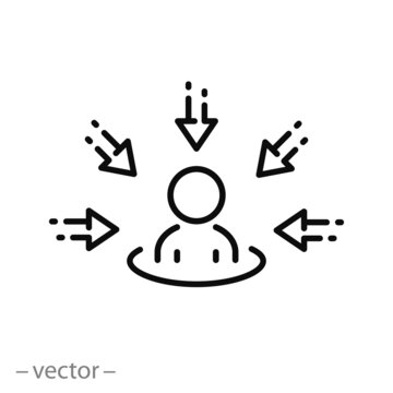 centric consumer icon, customer focus concept, client first approach,  thin line symbol on white background - editable stroke vector eps10