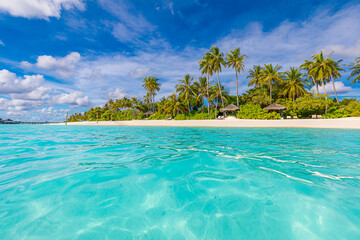 Beautiful tropical scenery, ocean lagoon palm tree. White sand, sea view horizon vibrant colors shore, blue sky, calmness relaxation nature. Inspirational beach resort hotel landscape. Summer vacation