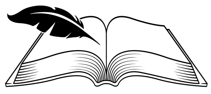 Book and quill pen for writing, vector illustration