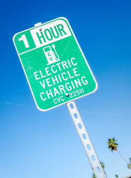 Electric vehicle charging station sign, Los Angeles, CA.