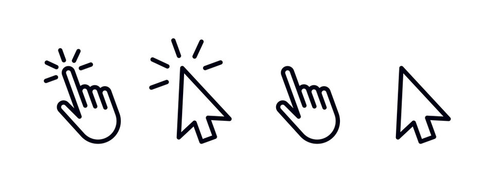 Set of hand pointer and arrow cursor mouse clicking flat icon symbol. Hand clicking icon collection. Pointer click icon. Hand icon design