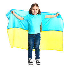 Little girl with the flag of Ukraine on white background
