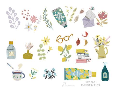 手書きのオシャレで可愛いコスメのイラスト(レモン、シール、本、ルームフレグランス、ビューティ、雑貨、コラージュ、ファッション) Cosmetics, lemons, stickers, books, room fragrance, beauty, miscellaneous goods, collages, fashion