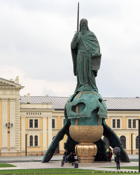 Serbia; Belgrade; April 3, 2021; Stefan Nemanja Monument in front of the building of Historical Museum of Serbia.