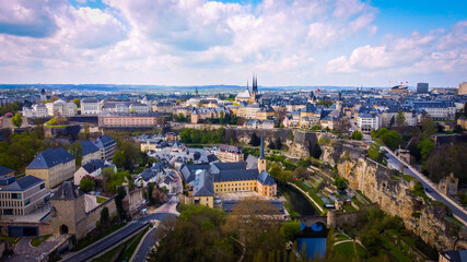 Amazing view over the city of Luxemburg from above - aerial photography - fototapety na wymiar