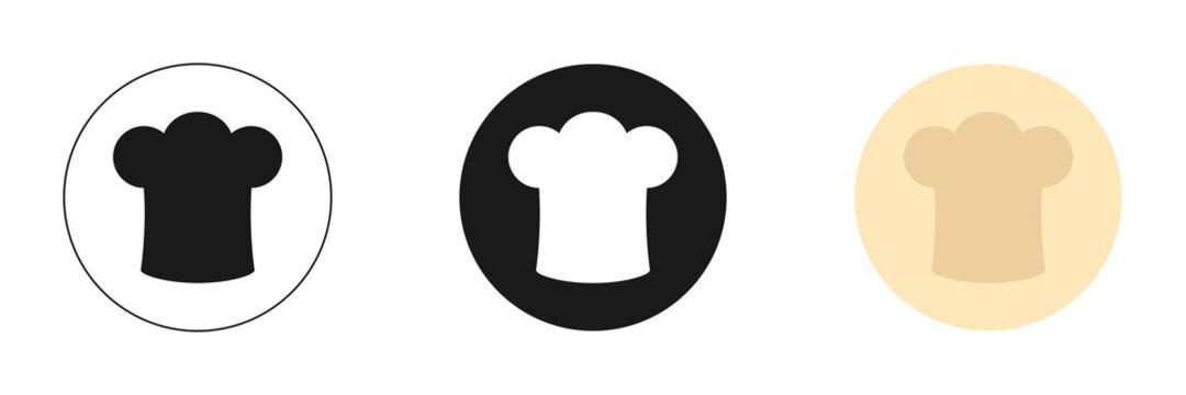 Set of icons. Chef hat love food red logo icon template. Modern design.