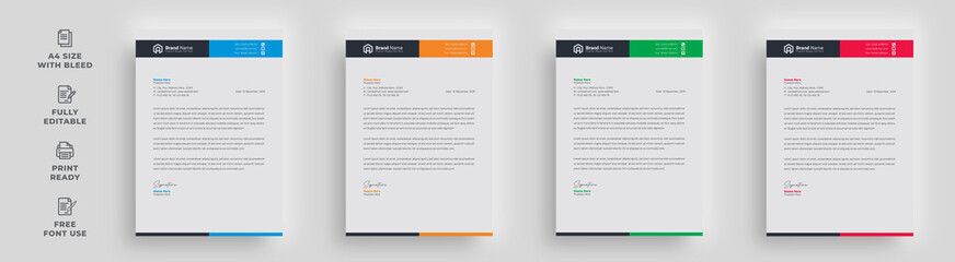Obraz letterhead flyer business corporate infographics unique trendy newest stylish minimal official creative poster magazine banner with logo template design - fototapety do salonu
