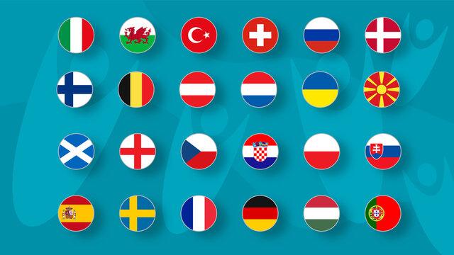 European football tournament 2020. Set of national flags of football teams Euro 2020 on funny backround.