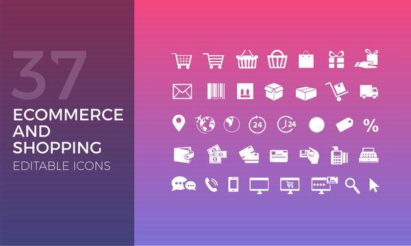 37 Iconos Editables para: Ecommerce, Tienda Online, Página web, Menú principal