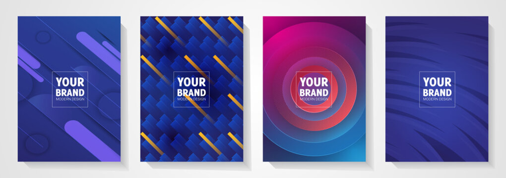 Modern cover design set. Blue abstract line pattern (guilloche curves). Creative stripe vector collection layout for business background, certificate, brochure template