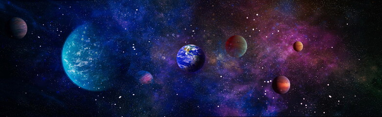 Fototapeta Beautiful Earth . Panoramic view of the Earth, sun, star and galaxy. Sunrise over planet Earth, view from space . Elements of this image furnished by NASA obraz