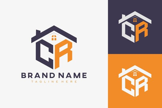 hexagon CR house monogram logo for real estate, property, construction business identity. box shaped home initiral with fav icons vector graphic template