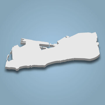 3d isometric map of Key West is an island in Florida Keys, isolated vector illustration