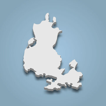 3d isometric map of Lopez is an island in San Juan Islands, Washington
