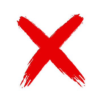 Grunge hand drawn cross x with brush strokes vector illustration isolated on white background. Mark graphic design. Check mark symbol NO button for vote in check box, web, etc.