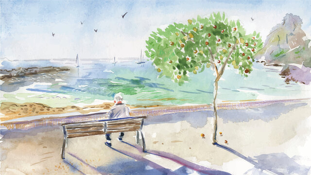 Old man sitting on the bench and watching yachts in the sea