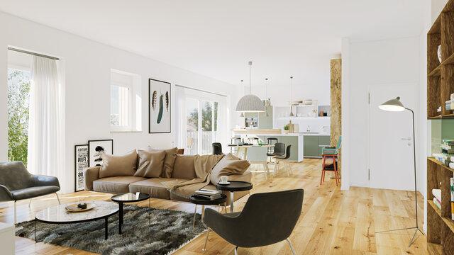 modern luxury european apartment loft with scandinavian furniture design