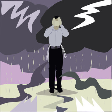 A painting of an ultra-Orthodox Jewish man standing stressed and frightened in the middle of a stormy background, on cracked ground, with lightning and dark clouds in the background. Vector drawing