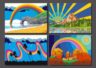 Psychedelic Color Scenery Set, Coast, Ocean, Forest, Mountains, Desert Outdoor Illustrations