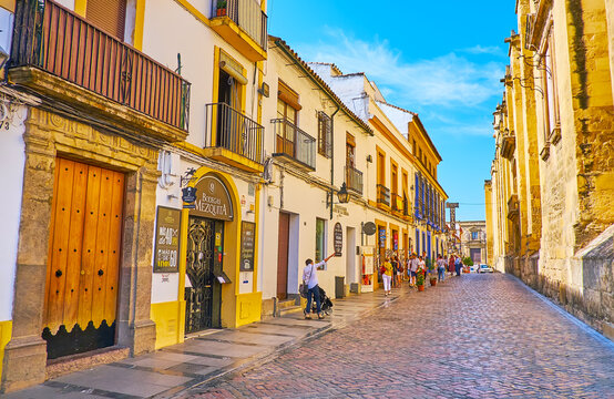 The tourist street along Mezquita wall, on Sep 30 in Cordoba, Spain