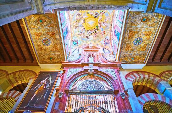 The decorations of the Capilla de la Concepcion (Chapel of Conseption) of Mezquita, on Sep 30 in Cordoba, Spain
