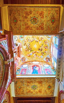 The richly decorated dome and ceiling of Capilla de la Concepcion (Chapel of Conseption) of Mezquita, on Sep 30 in Cordoba, Spain