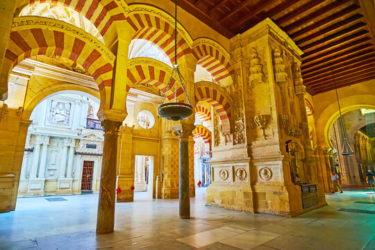 The double arches in Hypostyle Hall of Mezquita, on Sep 30 in Cordoba, Spain