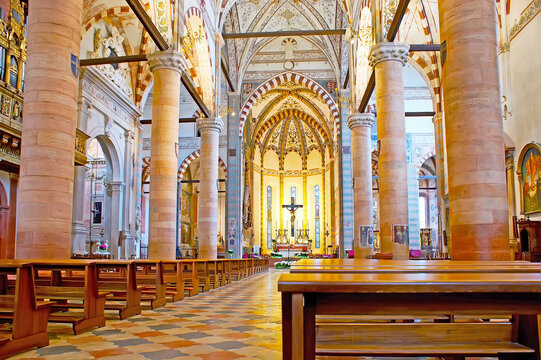 The prayer hall of Basilica of Santa Anastasia, on April 23 in Verona, Italy