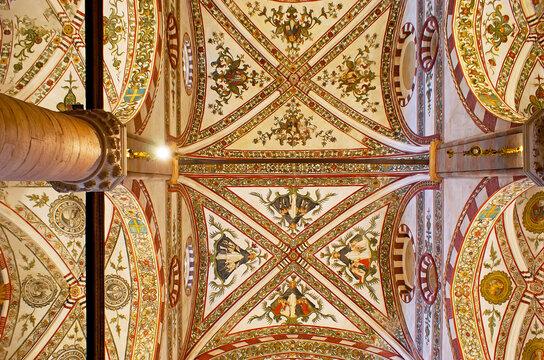 The frescoed vault of Santa Anastasia Church, on April 23 in Verona, Italy