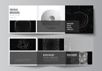 Vector layout of square covers design templates for trifold brochure, flyer, cover design, book design.Black color technology background. Digital visualization of science, medicine, technology concept