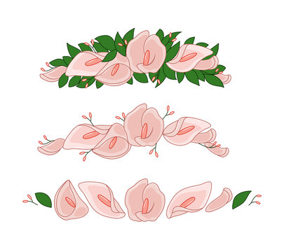 Flower wreath of calla lilies and leaves. Vector tiara. Wedding decor. Objects are isolated.
