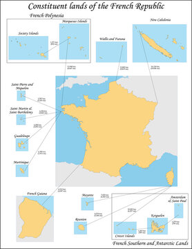 Overseas France consists of the French-administered territories outside Europe