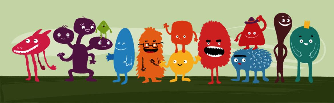 Colección de monstruos o extraterrestres simpáticos y divertidos. Paquete de lindas criaturas fantásticas. Ilustraciones vectoriales infantiles de colores brillantes en estilo plano.