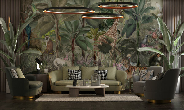 Interior design for a neoclassical living room with luxurious set, wood decor and banana tree oil painting wallpaper