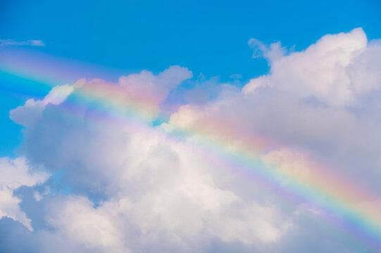 Real Maui, Hawaiian Rainbow, Anuenue over the blue sky, heavenly sky, white cloud