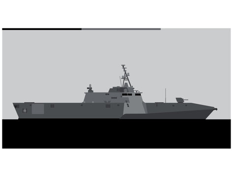 LCS-2. Independence class littoral combat ship. Vector image for illustrations and infographics.