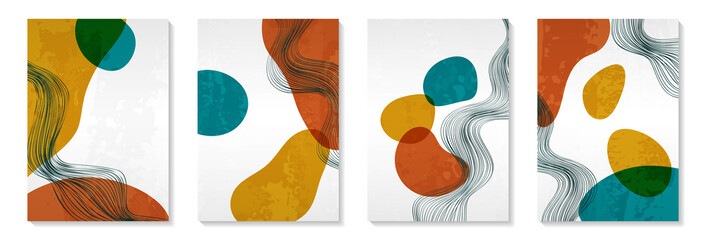 Creative minimalist hand painted Abstract art background with watercolor stain and Hand Drawn doodle Shape. Design for wall decoration, postcard, poster or brochure