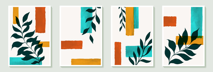 Set of creative minimalist hand draw illustrations black green leaves and vintage color simple geometric watercolor brushstroke shape for wall decoration, postcard or brochure cover design, poster
