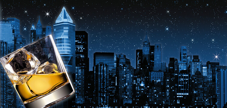 Illustration of a glass of scotch whiskey and ice with New-York city in the background with stars and skyscrapers.
