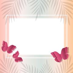 Pusta karta na gradientowym tle w minimalistycznym stylu otoczona gałązkami i motylami wyciętymi z papieru. Życzenia, Dzień Matki, tło dla social media stories, karta podarunkowa, voucher.
