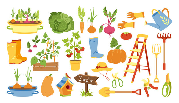 Garden tools flat cartoon set. Rural vegetable, rustic fence. Rubber boots, pitchfork and gloves, secateurs. Garden cart, birdhouse and watering can. Hand drawn Isolated vector illustration