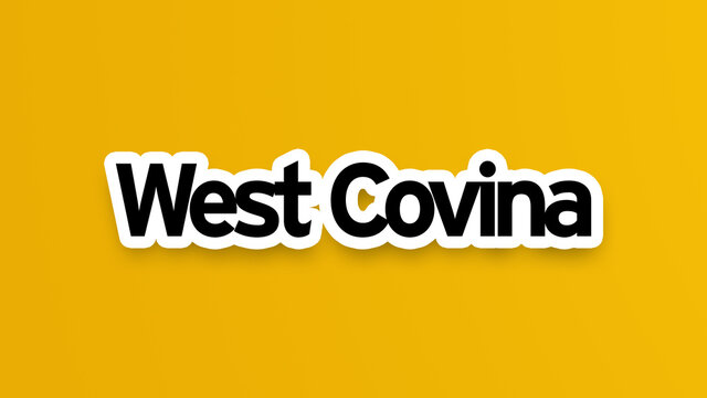 West Covina text in yellow background - American cities - City names