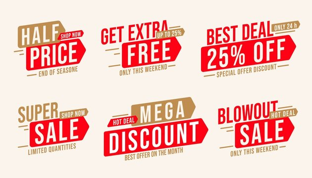Sale sticker set with mega discount and half price offer. Badge with get extra free, best deal up to 25 percent off, blowout super sale limited in time and quantity vector illustration