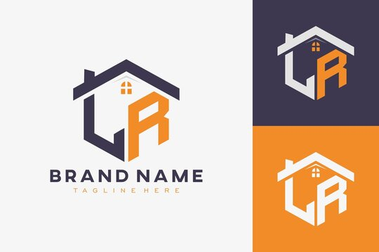 hexagon LR house monogram logo for real estate, property, construction business identity. box shaped home initiral with fav icons vector graphic template